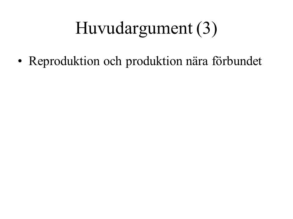 Huvudargument (3) •Reproduktion och produktion nära förbundet
