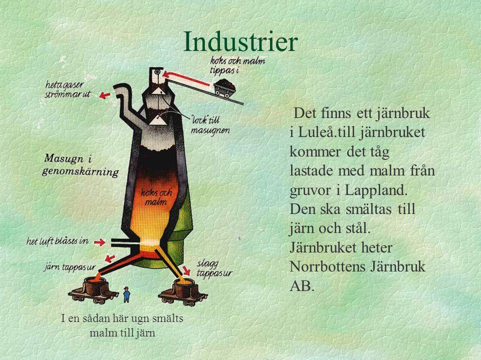 Industrier Det finns ett järnbruk i Luleå.till järnbruket kommer det tåg lastade med malm från gruvor i Lappland. Den ska smältas till järn och stål.