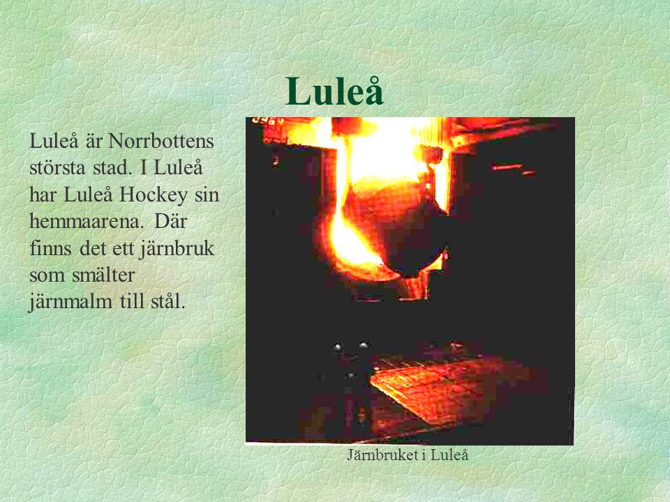 Luleå Luleå är Norrbottens största stad. I Luleå har Luleå Hockey sin hemmaarena. Där finns det ett järnbruk som smälter järnmalm till stål. Järnbruke