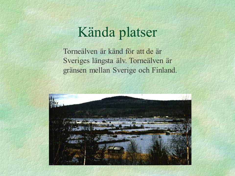 Kända platser Torneälven är känd för att de är Sveriges längsta älv. Torneälven är gränsen mellan Sverige och Finland.