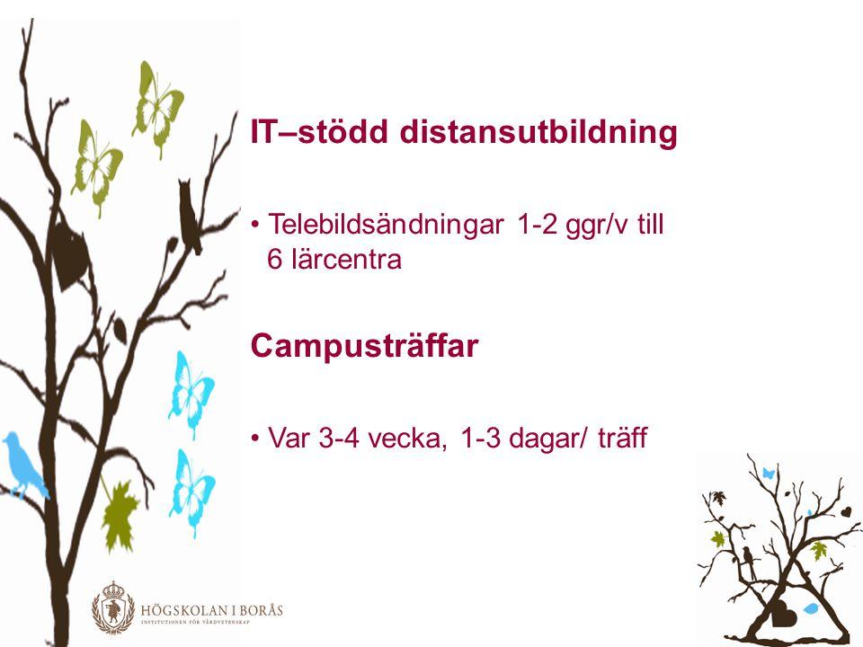 IT–stödd distansutbildning • Telebildsändningar 1-2 ggr/v till 6 lärcentra Campusträffar • Var 3-4 vecka, 1-3 dagar/ träff