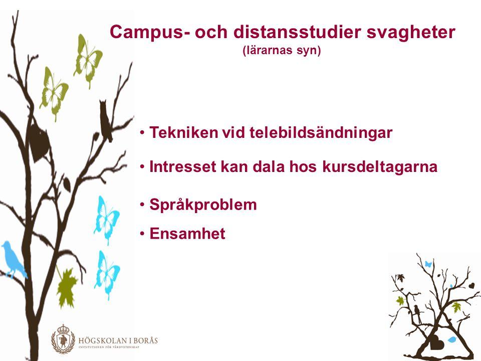 Campus- och distansstudier svagheter • Tekniken vid telebildsändningar • Intresset kan dala hos kursdeltagarna • Språkproblem • Ensamhet (lärarnas syn