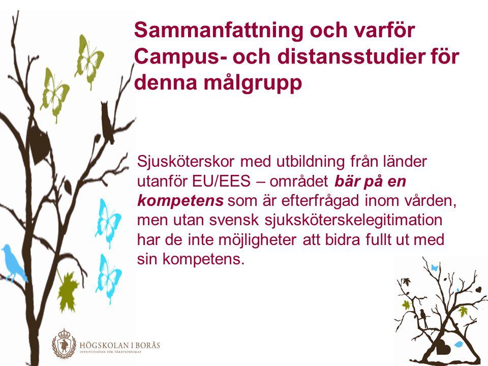 Sammanfattning och varför Campus- och distansstudier för denna målgrupp Sjusköterskor med utbildning från länder utanför EU/EES – området bär på en ko