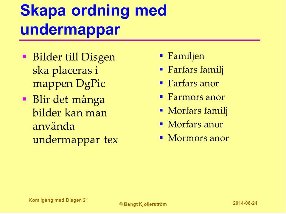 Skapa ordning med undermappar  Bilder till Disgen ska placeras i mappen DgPic  Blir det många bilder kan man använda undermappar tex  Familjen  Fa