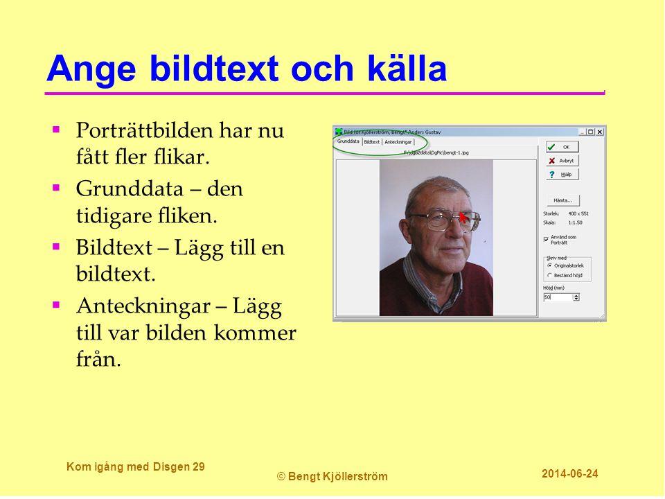 Ange bildtext och källa  Porträttbilden har nu fått fler flikar.  Grunddata – den tidigare fliken.  Bildtext – Lägg till en bildtext.  Anteckninga