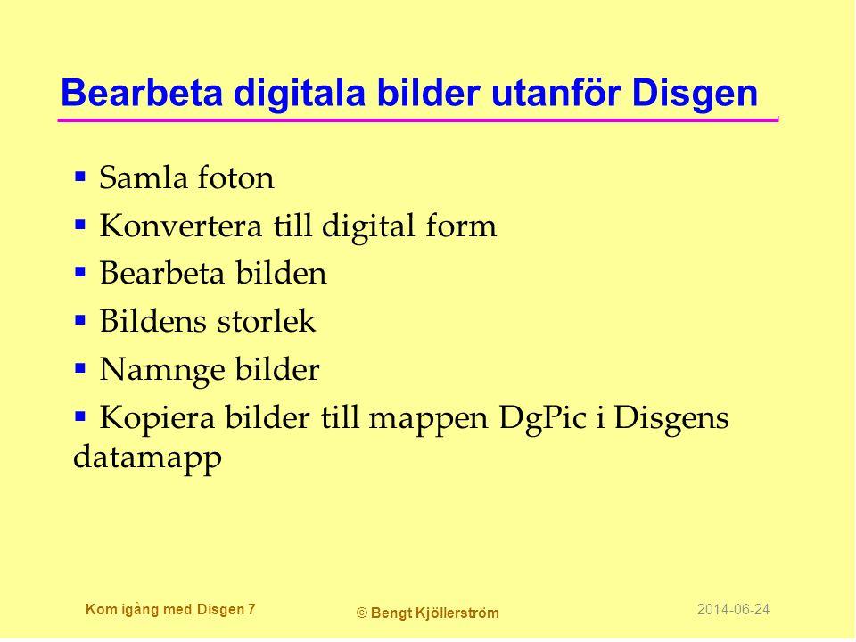Skrivarinställning  Välj skrivare  Välj pappersstorlek  Välj Orientering  Klicka OK Kom igång med Disgen 38 © Bengt Kjöllerström 2014-06-24