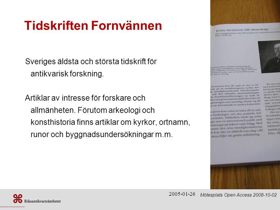 2005-01-26 Webbplats – digitaliseringsprojektet Mötesplats Open Access 2008-10-02