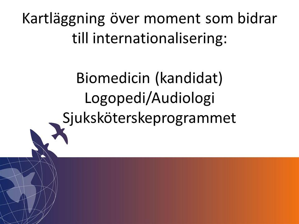 Kartläggning över moment som bidrar till internationalisering: Biomedicin (kandidat) Logopedi/Audiologi Sjuksköterskeprogrammet