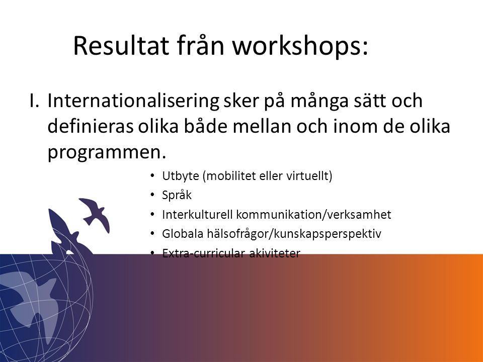 Resultat från workshops: I.Internationalisering sker på många sätt och definieras olika både mellan och inom de olika programmen.