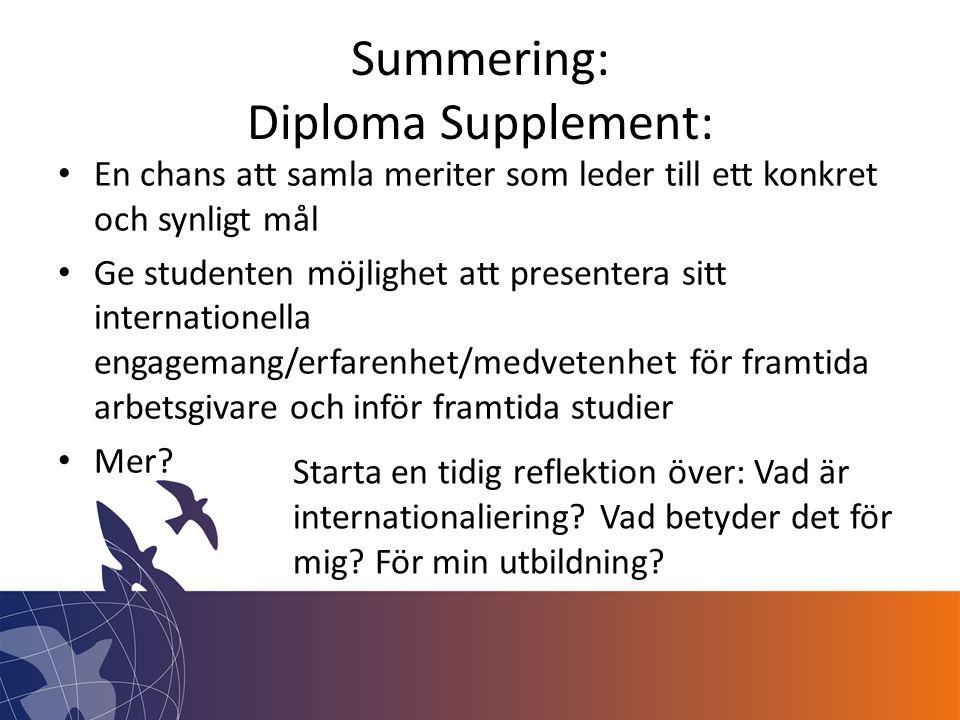 Summering: Diploma Supplement: • En chans att samla meriter som leder till ett konkret och synligt mål • Ge studenten möjlighet att presentera sitt internationella engagemang/erfarenhet/medvetenhet för framtida arbetsgivare och inför framtida studier • Mer.