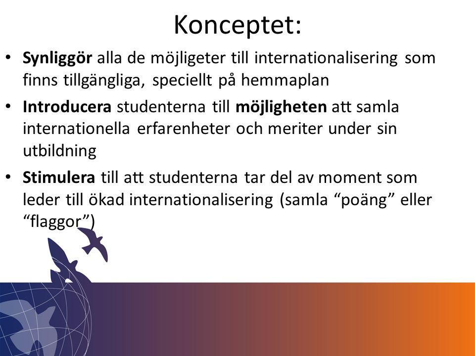 Konceptet: • Synliggör alla de möjligeter till internationalisering som finns tillgängliga, speciellt på hemmaplan • Introducera studenterna till möjligheten att samla internationella erfarenheter och meriter under sin utbildning • Stimulera till att studenterna tar del av moment som leder till ökad internationalisering (samla poäng eller flaggor )