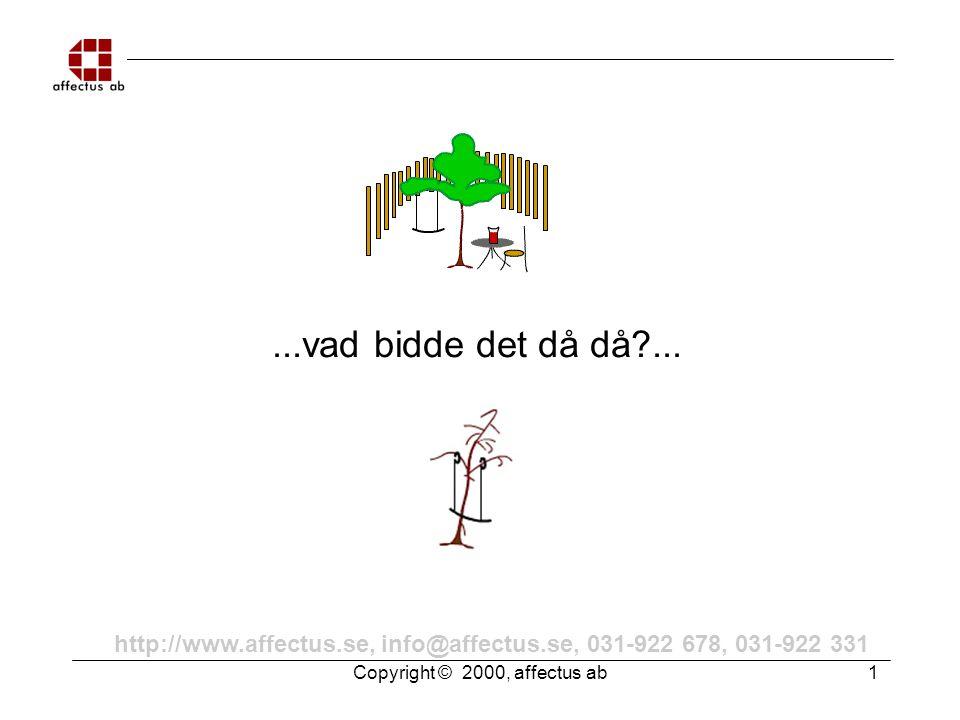 Copyright © 2000, affectus ab 1 http://www.affectus.se, info@affectus.se, 031-922 678, 031-922 331...vad bidde det då då?...