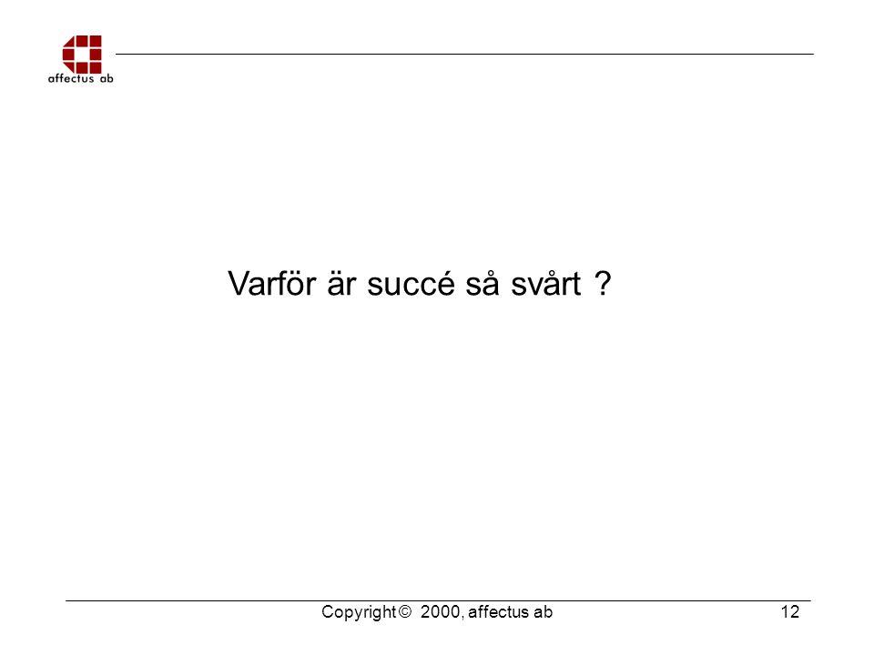 Copyright © 2000, affectus ab 12 Varför är succé så svårt ?