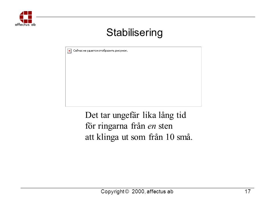 Copyright © 2000, affectus ab 17 Stabilisering Det tar ungefär lika lång tid för ringarna från en sten att klinga ut som från 10 små.
