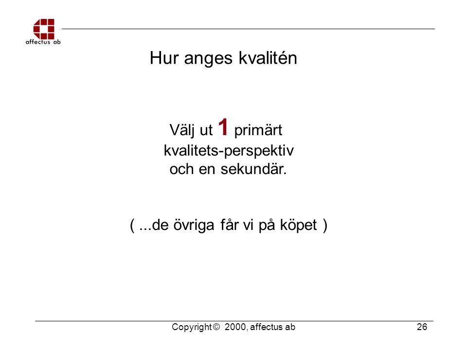 Copyright © 2000, affectus ab 26 Hur anges kvalitén Välj ut 1 primärt kvalitets-perspektiv och en sekundär. (...de övriga får vi på köpet )