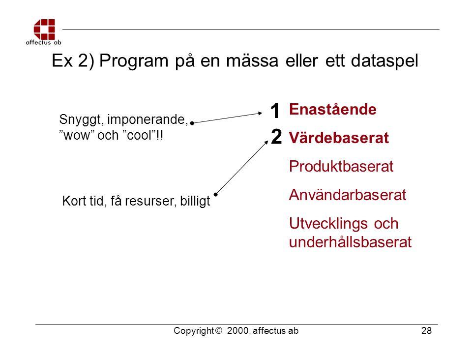 Copyright © 2000, affectus ab 28 Användarbaserat Enastående Värdebaserat Produktbaserat Utvecklings och underhållsbaserat Ex 2) Program på en mässa el