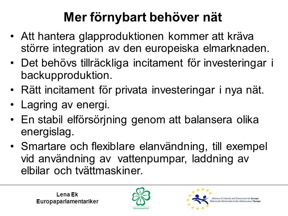 Lena Ek Europaparlamentariker Mer förnybart behöver nät •Att hantera glapproduktionen kommer att kräva större integration av den europeiska elmarknade