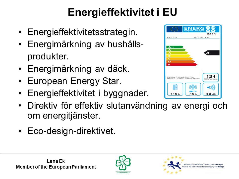 Lena Ek Member of the European Parliament Energieffektivitet i EU •Energieffektivitetsstrategin. •Energimärkning av hushålls- produkter. •Energimärkni
