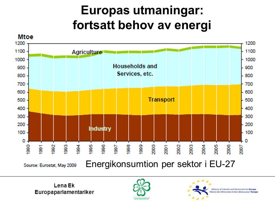 Europas utmaningar: fortsatt behov av energi Lena Ek Europaparlamentariker Energikonsumtion per sektor i EU-27