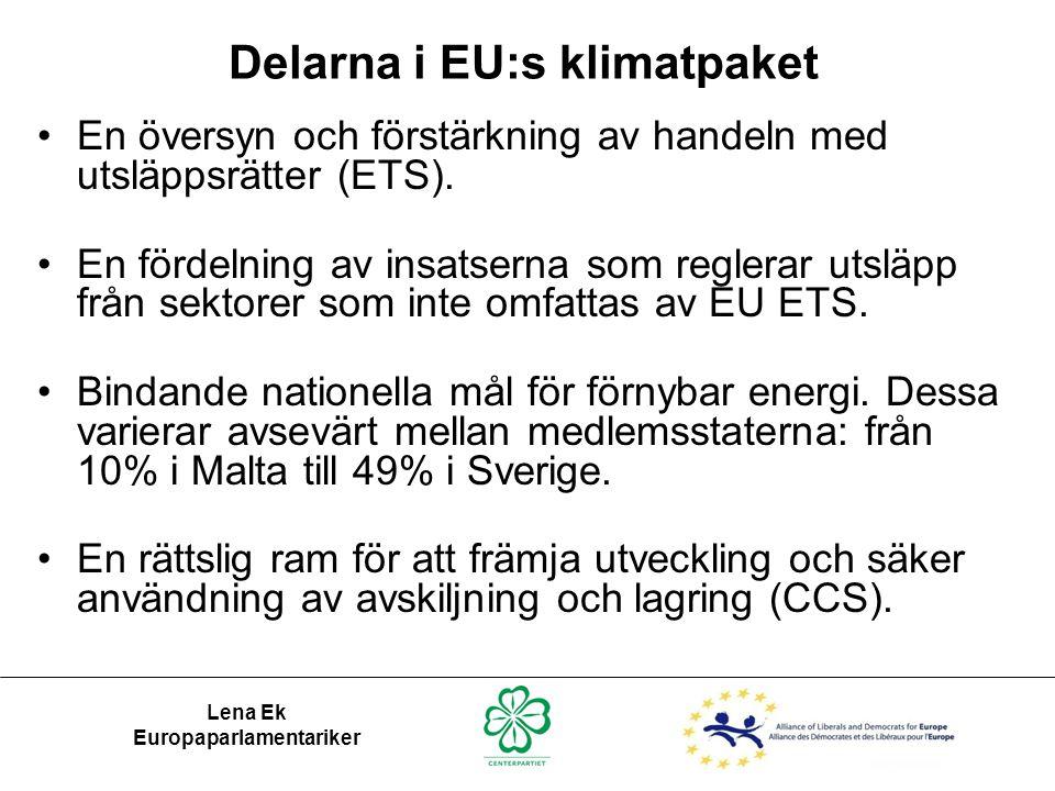 Delarna i EU:s klimatpaket •En översyn och förstärkning av handeln med utsläppsrätter (ETS). •En fördelning av insatserna som reglerar utsläpp från se