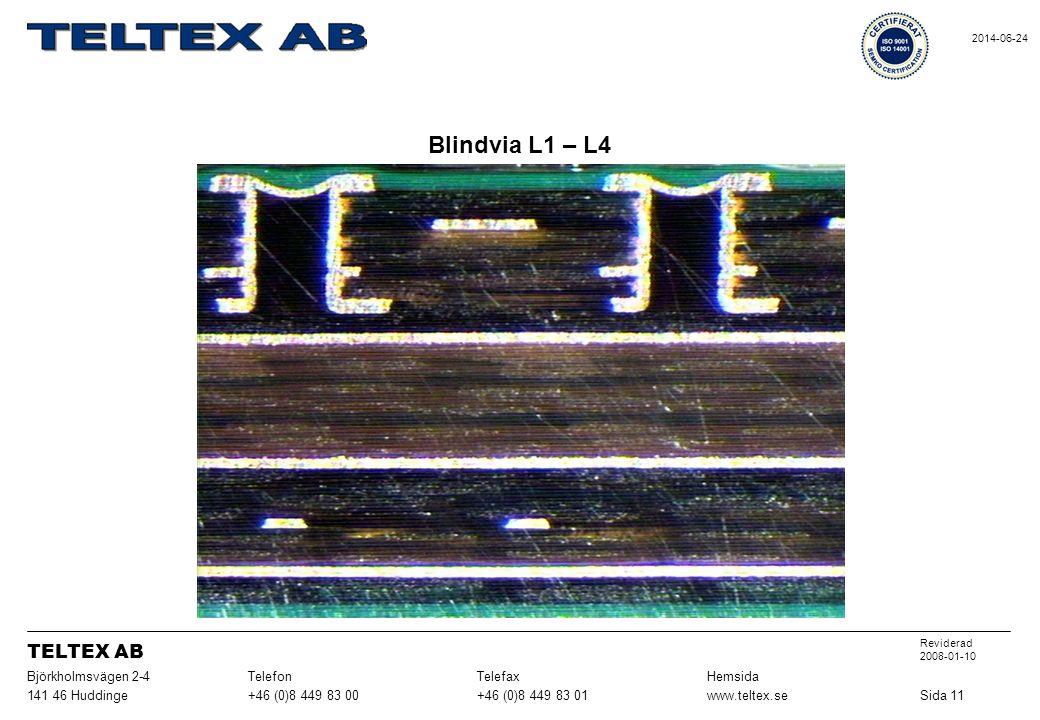 Blindvia L1 – L4 Sida 11www.teltex.se+46 (0)8 449 83 01+46 (0)8 449 83 00141 46 Huddinge HemsidaTelefaxTelefonBjörkholmsvägen 2-4 Reviderad 2008-01-10