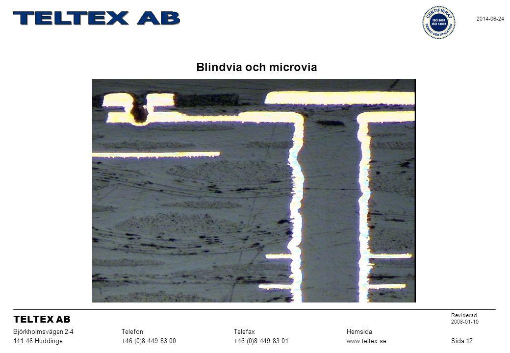Blindvia och microvia Sida 12www.teltex.se+46 (0)8 449 83 01+46 (0)8 449 83 00141 46 Huddinge HemsidaTelefaxTelefonBjörkholmsvägen 2-4 Reviderad 2008-