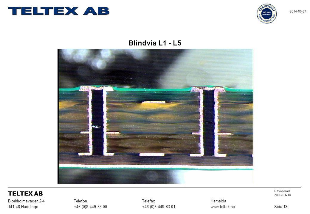 Blindvia L1 - L5 Sida 13www.teltex.se+46 (0)8 449 83 01+46 (0)8 449 83 00141 46 Huddinge HemsidaTelefaxTelefonBjörkholmsvägen 2-4 Reviderad 2008-01-10