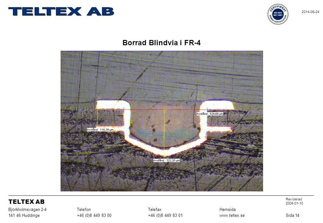 Borrad Blindvia i FR-4 Sida 14www.teltex.se+46 (0)8 449 83 01+46 (0)8 449 83 00141 46 Huddinge HemsidaTelefaxTelefonBjörkholmsvägen 2-4 Reviderad 2008