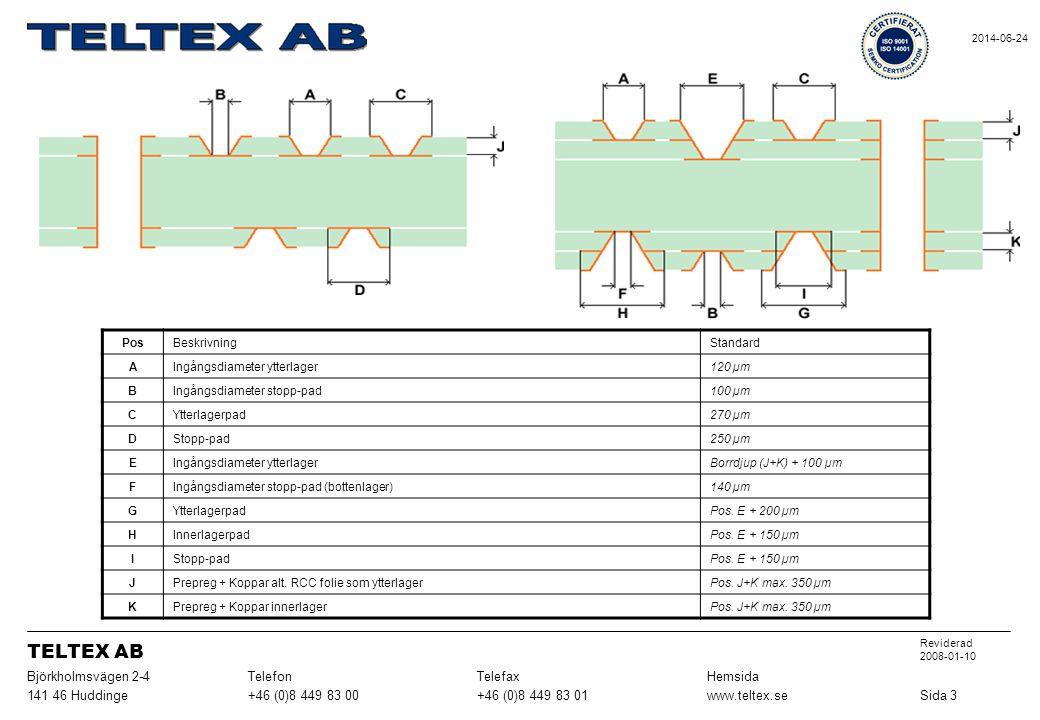 PosBeskrivningStandard AIngångsdiameter ytterlager120 µm BIngångsdiameter stopp-pad100 µm CYtterlagerpad270 µm DStopp-pad250 µm EIngångsdiameter ytter