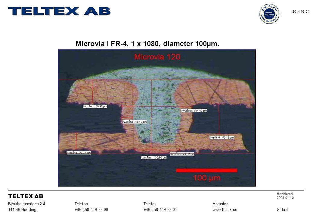 Microvia i FR-4, 1 x 1080, diameter 100µm.