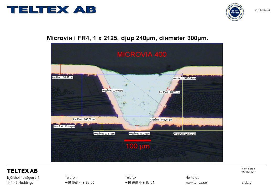 Microvia i FR4, 1 x 2125, djup 240µm, diameter 300µm.