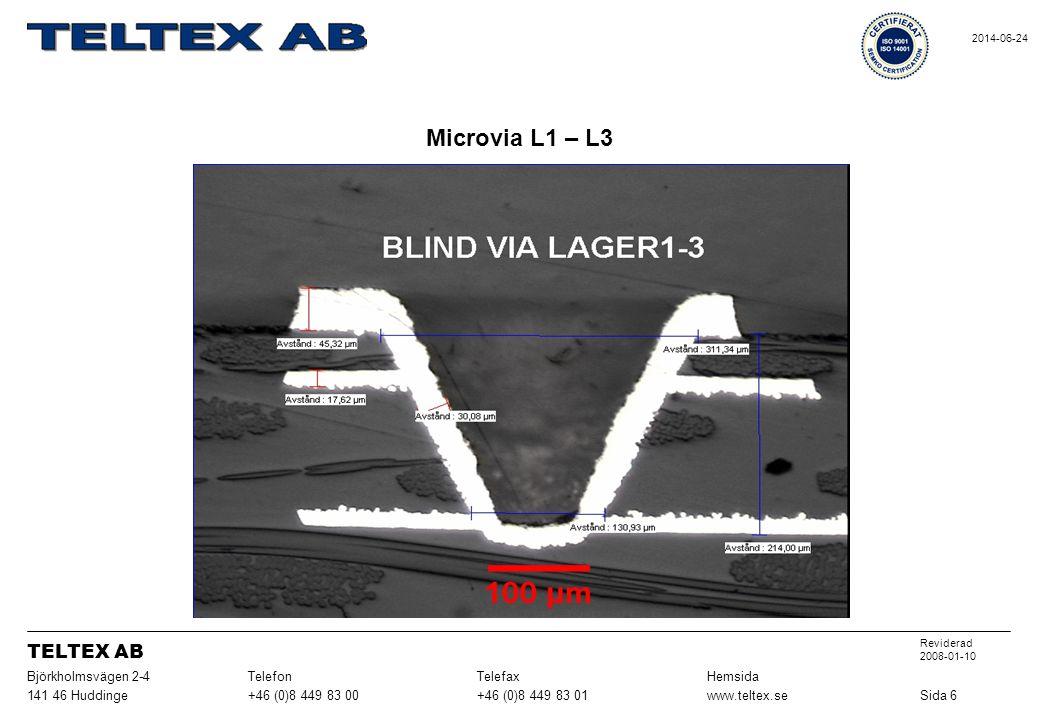 Microvia L1 – L3 Sida 6www.teltex.se+46 (0)8 449 83 01+46 (0)8 449 83 00141 46 Huddinge HemsidaTelefaxTelefonBjörkholmsvägen 2-4 Reviderad 2008-01-10 TELTEX AB 2014-06-24