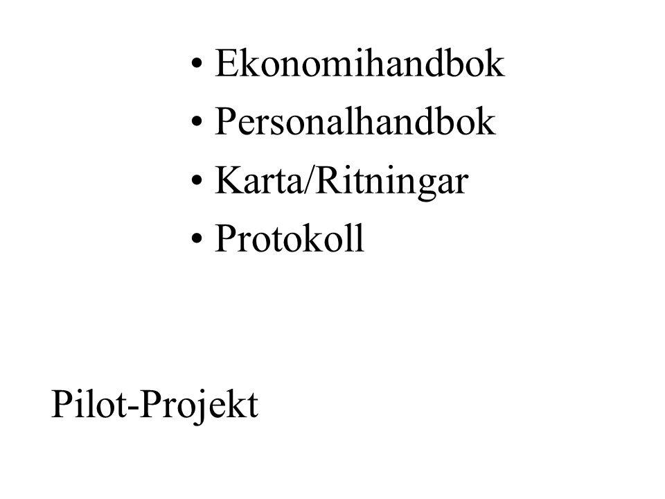Pilot-Projekt •Ekonomihandbok •Personalhandbok •Karta/Ritningar •Protokoll