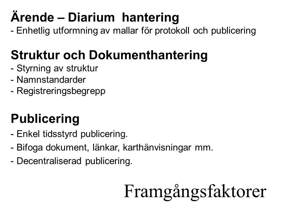 Framgångsfaktorer Ärende – Diarium hantering - Enhetlig utformning av mallar för protokoll och publicering Struktur och Dokumenthantering - Styrning av struktur - Namnstandarder - Registreringsbegrepp Publicering - Enkel tidsstyrd publicering.