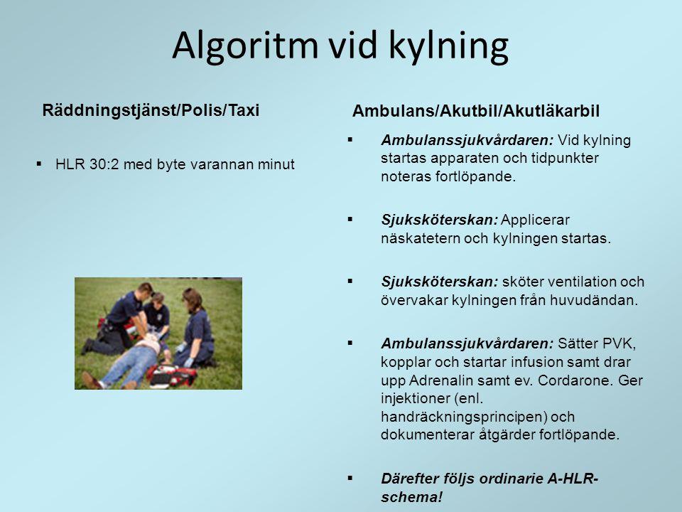 Algoritm vid kylning Ambulans/Akutbil/Akutläkarbil  Ambulanssjukvårdaren: Vid kylning startas apparaten och tidpunkter noteras fortlöpande.  Sjukskö