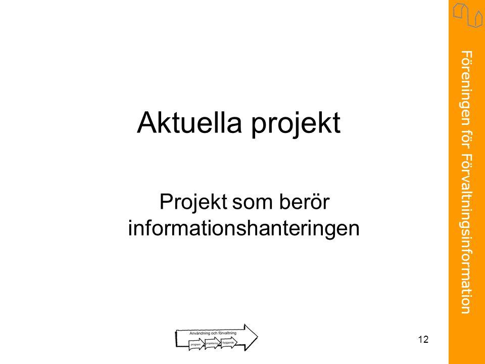 Föreningen för Förvaltningsinformation 12 Aktuella projekt Projekt som berör informationshanteringen
