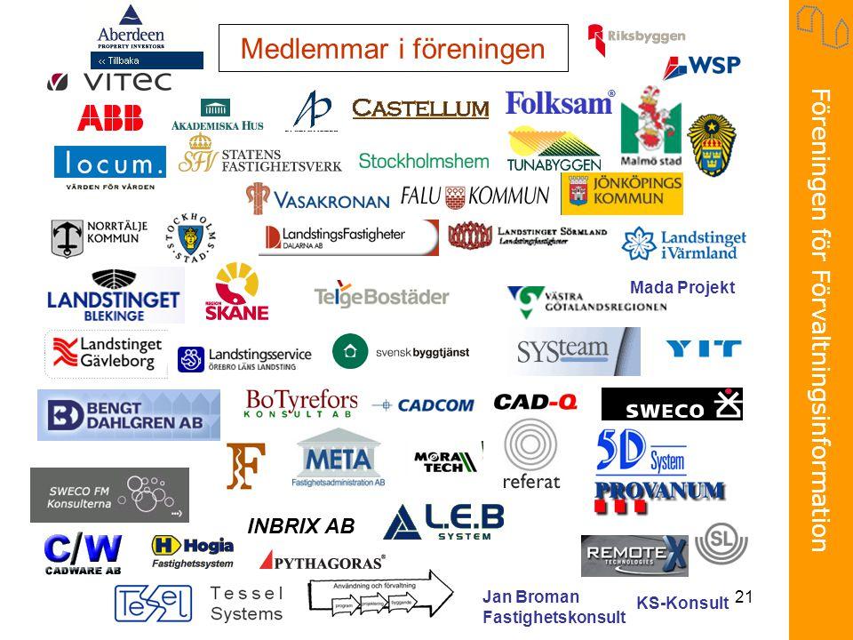 Föreningen för Förvaltningsinformation 21 Medlemmar i föreningen INBRIX AB Jan Broman Fastighetskonsult KS-Konsult Mada Projekt