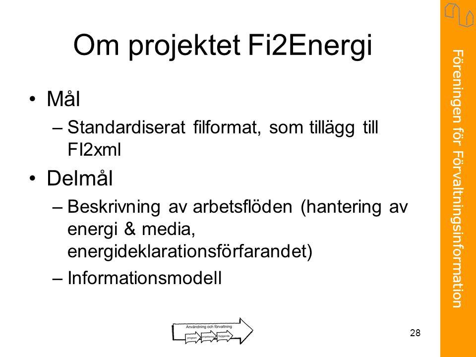 Föreningen för Förvaltningsinformation 28 Om projektet Fi2Energi •Mål –Standardiserat filformat, som tillägg till FI2xml •Delmål –Beskrivning av arbet