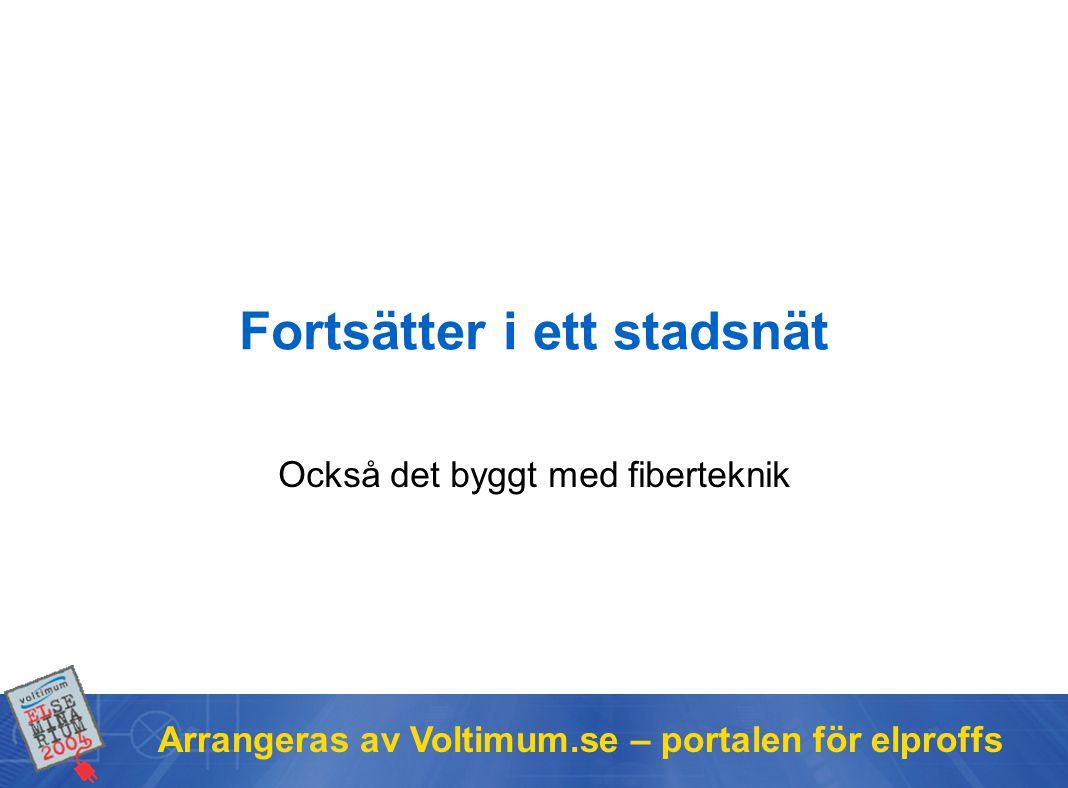 Arrangeras av Voltimum.se – portalen för elproffs Också det byggt med fiberteknik Fortsätter i ett stadsnät