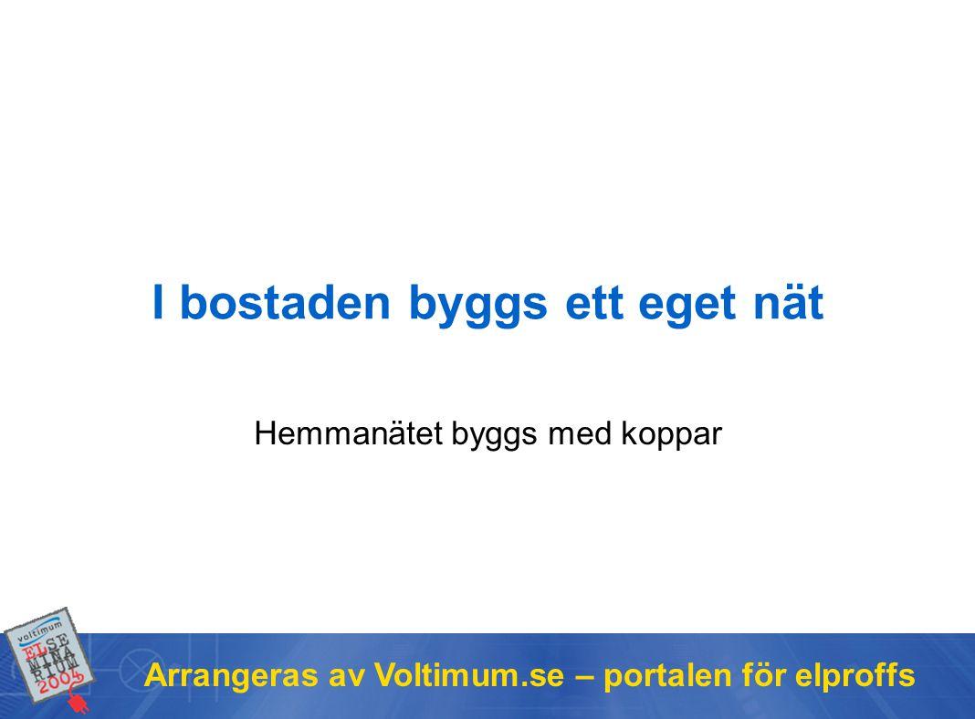 Arrangeras av Voltimum.se – portalen för elproffs I bostaden byggs ett eget nät Hemmanätet byggs med koppar
