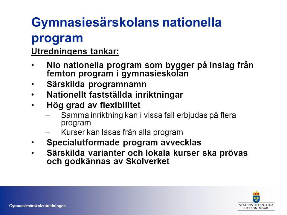 Gymnasiesärskoleutredningen Gymnasiesärskolans nationella program Utredningens tankar: •Nio nationella program som bygger på inslag från femton progra