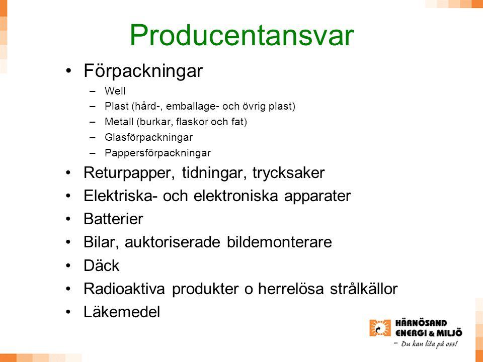Producentansvar •Förpackningar –Well –Plast (hård-, emballage- och övrig plast) –Metall (burkar, flaskor och fat) –Glasförpackningar –Pappersförpackningar •Returpapper, tidningar, trycksaker •Elektriska- och elektroniska apparater •Batterier •Bilar, auktoriserade bildemonterare •Däck •Radioaktiva produkter o herrelösa strålkällor •Läkemedel