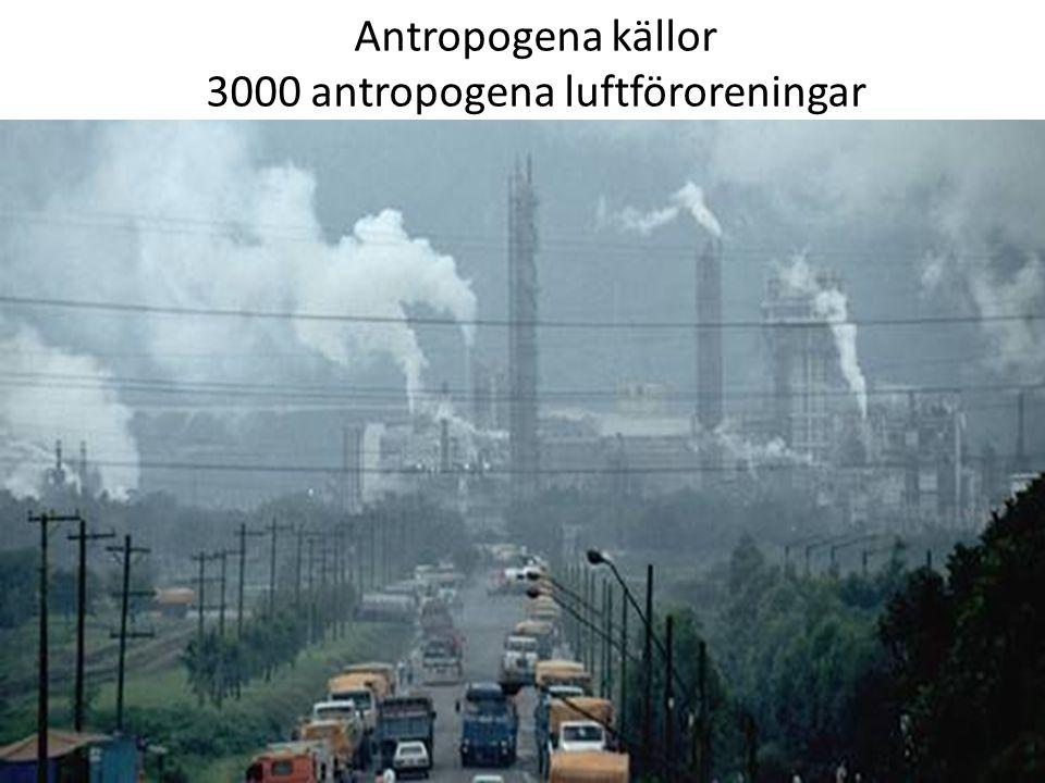 Antropogena källor 3000 antropogena luftföroreningar
