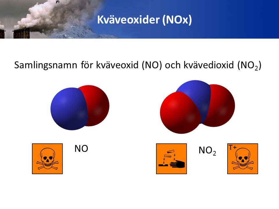 Kväveoxider (NOx) Samlingsnamn för kväveoxid (NO) och kvävedioxid (NO 2 ) NO NO 2
