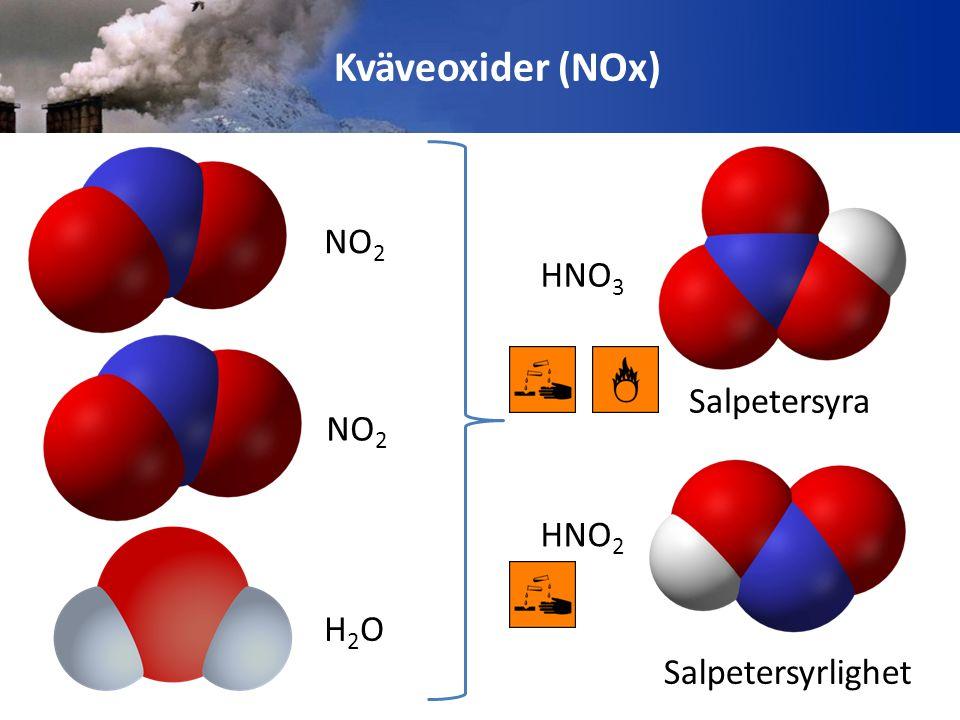 Kväveoxiderna reagerar med kroppsvätskan i lungorna och bildar salpetersyra HÄLSOEFFEKTER Orsakar inflammationer i luftvägarna Astma/Astmaattacker Lungemfysem Bronkit Hjärtsjukdom Biologiska mutationer Kväveoxider bryter också ned det atmosfäriska ozonet och orsakar hudcancer SAMT bidrar till viss del till att skapa marknära ozon …