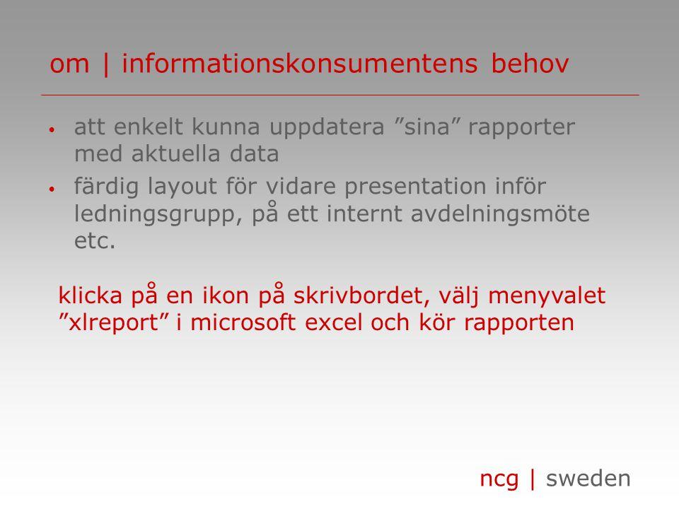 ncg | sweden om | informationskonsumentens behov • att enkelt kunna uppdatera sina rapporter med aktuella data • färdig layout för vidare presentation inför ledningsgrupp, på ett internt avdelningsmöte etc.