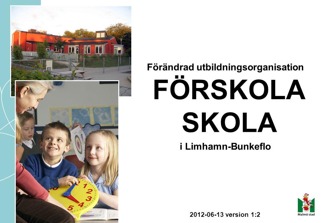 Förändrad utbildningsorganisation FÖRSKOLA SKOLA i Limhamn-Bunkeflo 2012-06-13 version 1:2