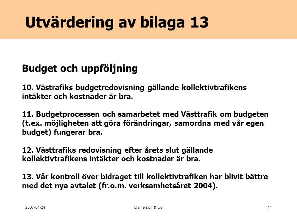 2007-04-24Danielson & Co14 Utvärdering av bilaga 13 Budget och uppföljning 10.