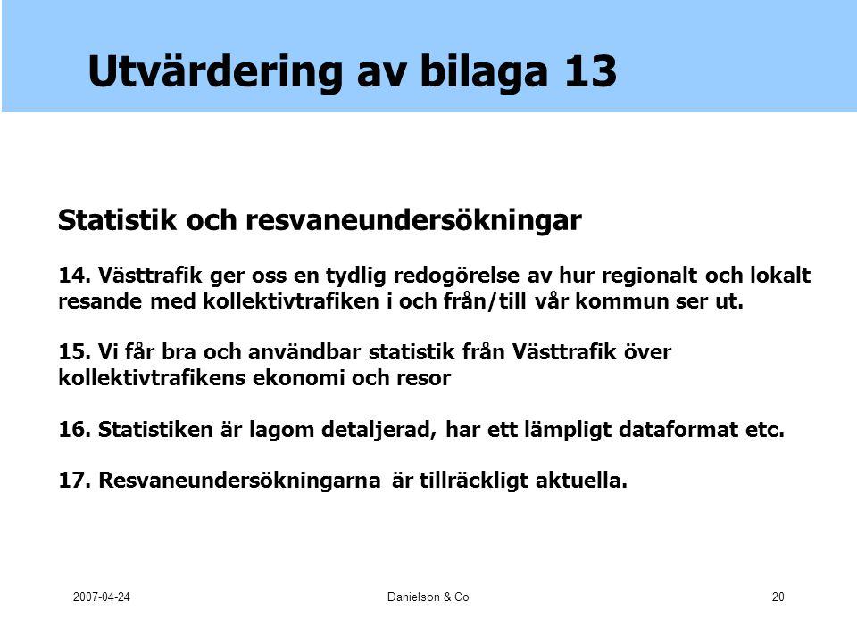 2007-04-24Danielson & Co20 Utvärdering av bilaga 13 Statistik och resvaneundersökningar 14.