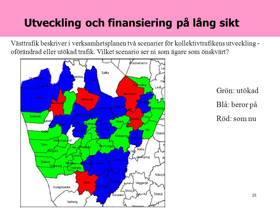 2007-04-24Danielson & Co26 Utveckling och finansiering på lång sikt Västtrafik beskriver i verksamhetsplanen två scenarier för kollektivtrafikens utveckling - oförändrad eller utökad trafik.